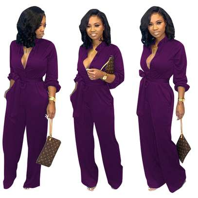 Button Up Long Sleeve Pure Jumpsuit with Belt Sizes M L XL. image 2