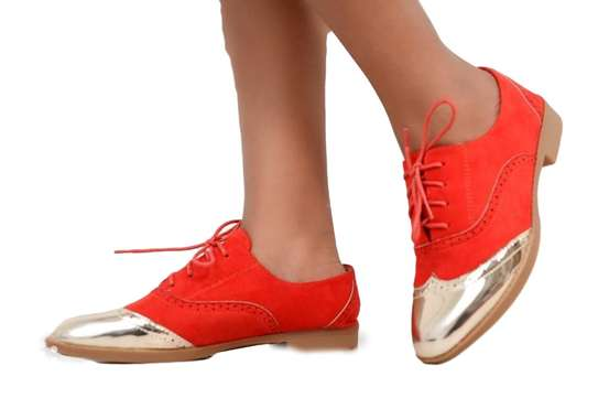 Red-silver-brown Fashion Brogues Ladies Laced Shoes image 2
