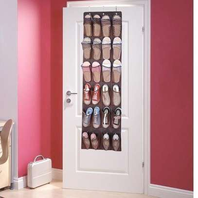 6 Tier Pocket Non-woven Fabric Over The Door Shoes Storage Shelf Home Organizer image 1