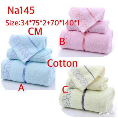 Classy cotton anti-lint 3 in one towels image 1