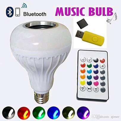 Bluetooth Speaker Music Light Bulb B22 LED White with powerful speaker + RGB Light Ball Bulb Colorful Lamp with Remote Control image 2