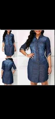 Classic denim shirt dress image 1
