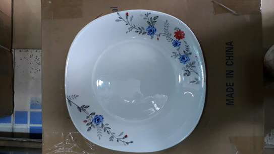 6pc square dinner plate/Round dinner plate/Glass plate/Flowered plates image 3