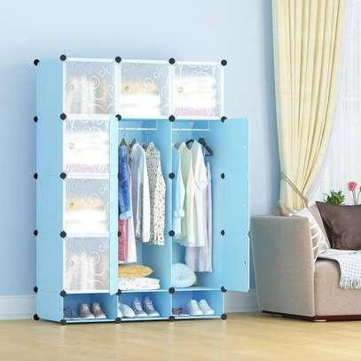 3 column blue portable wardrobe image 1