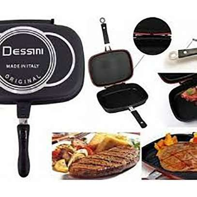 Double Pan /Meat Grill Non Stick 32CM  - Black