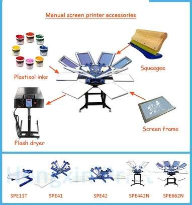 Latest six head six color T-shirt rotary screen printing machine. image 1