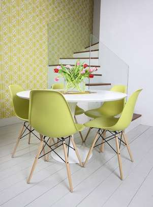 Eames  colourful chairs for small dining spaces