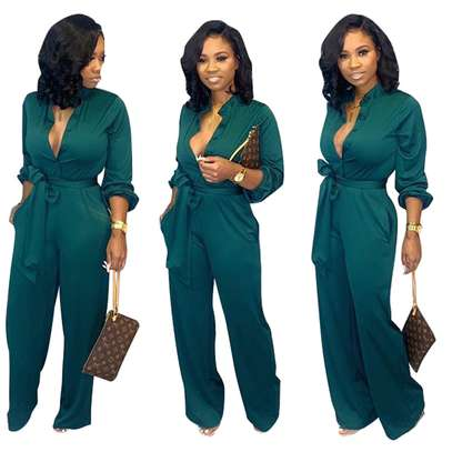 Button Up Long Sleeve Pure Jumpsuit with Belt Sizes M L XL. image 1