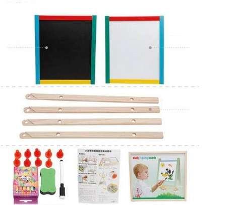 2 in 1 Wooden Kids Easel Blackboard Whiteboard Drawing Writing Chalk Board image 3