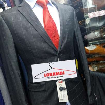 Checked slim fit suit