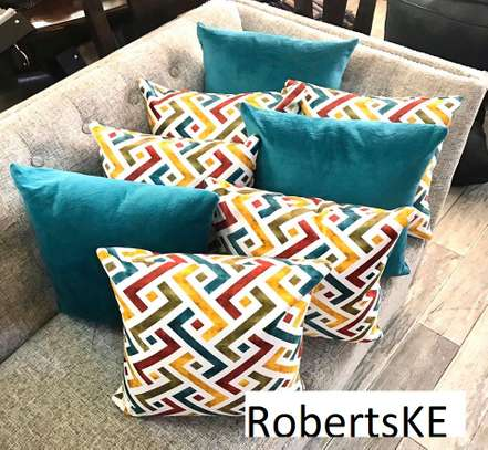 patterned blue throw pillow image 1