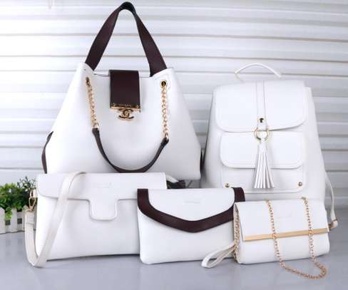 Classy 5 in 1 ladies hand bag- white