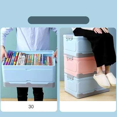 Large foldable storage box with plastic lid closet books and car storage organizer-pink image 5