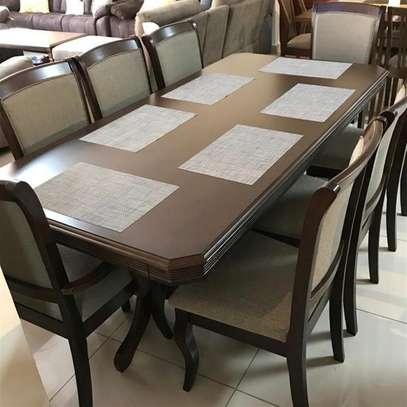 9 piece dining table hardwood Seats 8 people image 2