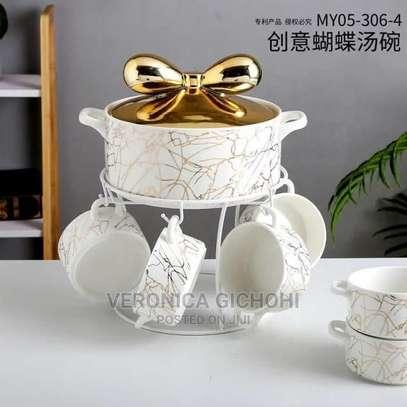 Luxurious Marble Soup Bowl Set image 1
