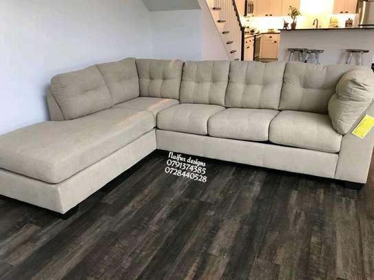 Six seater tufted sofas/modern beige sofas/L shaped sofas/tufted sofas image 1