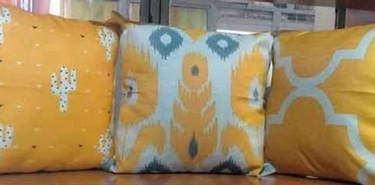 throw pillows yellow and green print image 1
