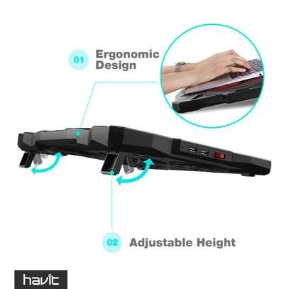 HAVIT 5 Fans Laptop Cooling Pad for 14-17 Inch Laptop, Cooler Pad with LED Light, Dual USB 2.0 Ports, Adjustable Mount Stand (Black) image 2