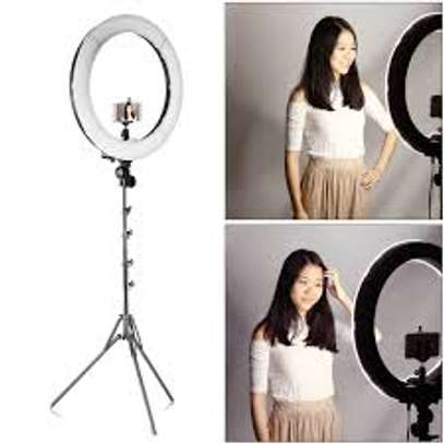 LED Ring Light 14 inch Dimmable Selfie Ring with Tripod Stand, Flexible Phone Holder, Bluetooth Remote Control image 1