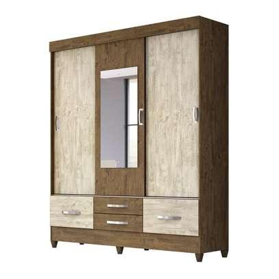 Wardrobe with 3 Sliding Doors & 4 Shelves - Moval - Vegas Brown - Hazelnut