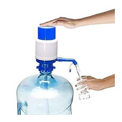 Drinking Water Hand Press Pump for Bottled Water - White & Blue image 1