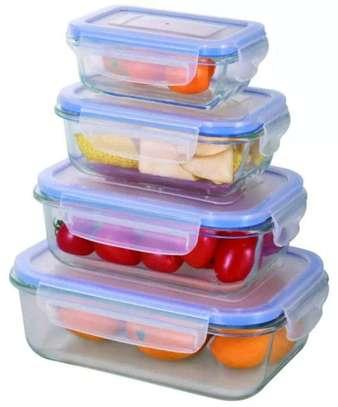 4piece glass storage with lids 400ml,630ml,1000ml,1480ml image 1