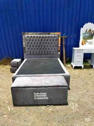 Mirrored beds/modern beds/beds for sale/beds with storage puff/footrest puff image 1