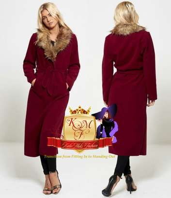 Wine Fur Collar Long Trench Coat Made in UK image 1