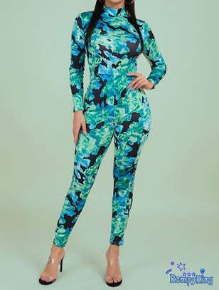 Fashion RK High Neck Tight Stretch Camo green Jumpsuits image 1