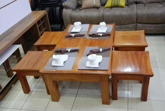 Mahogany Coffee Table with Stools