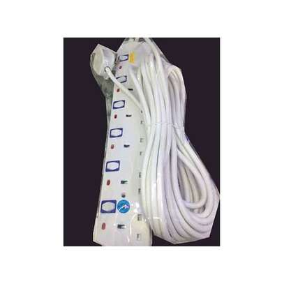 Jsb 6-Way Socket Power Extension Cable 10m Long- White