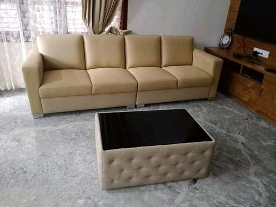 Simple Modern Quality 4 Seater Sofa + Upholstered Table image 1