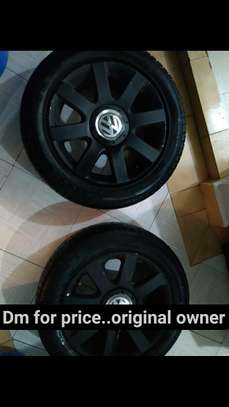 Slightly used car tyres plus rims image 2