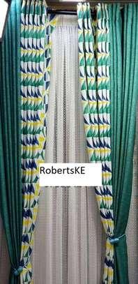 Green prints curtain image 1
