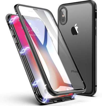 Magnetic Adsorption Case For iPhone X XS- Clear Glass Back image 1