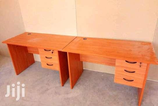 Computer desk with underneath floor protector image 1