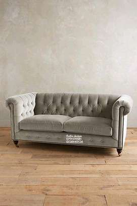 Grey chesterfield sofas/two seater sofas image 1