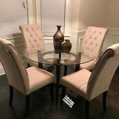 Four seater dining tables for sale in Nairobi Kenya/round glass dining tables for sale in Nairobi Kenya/tufted Dining chairs image 1