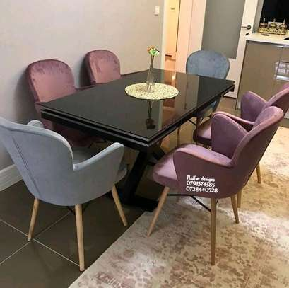 Modern unique six seater dining set image 1