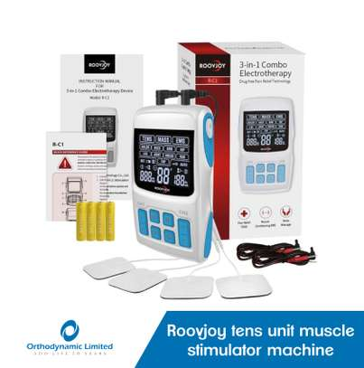 ROOVJOY TENS Unit Muscle Stimulator Pulse Massager 3 in 1 Back Pain Relief Dual Channles 36 Modes Electric Device Electrodes Therapy Accupoint Pads Machine image 1