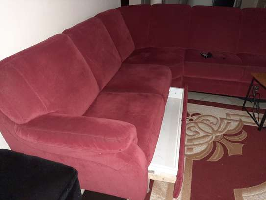 L Shape sofa with inbuilt drawer for sale