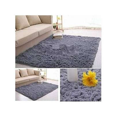 Fluffy Smooth Carpet For Living Room - Grey image 1