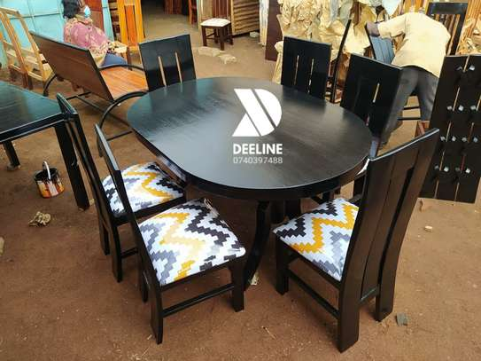 Black oval 6 seater dining table sets image 2