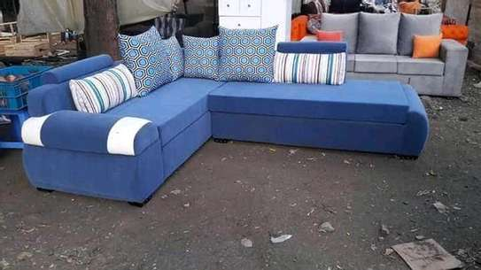 A blue unique and quality coerner sofa image 1