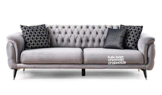 Three seater sofas/grey velvet sofas image 1
