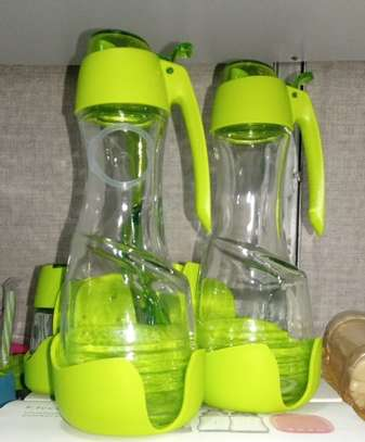Oil Vinegar Salt Pepper Shaker Set With Toothpicks Serviettes Holder - Green and red image 4