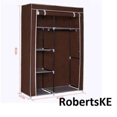brown wooden portable wardrobe image 1