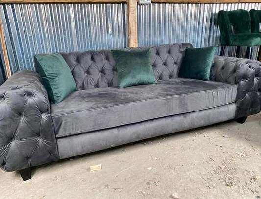 3 Seater button tufted Sofa/Grey seat image 1
