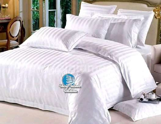 Stripped white cotton duvet covers image 4
