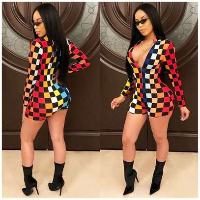 Fashion Long Sleeve Printed Plaid Playsuit-Rompers image 1